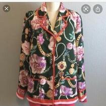 h&m Floral Blazer Jacket Green Chain Size 2 Nwt Coat Photo