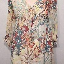 h&m Floral Empire Waist Boho Hippie Baby Doll Fully Lined Mini Dress Size 4 Photo