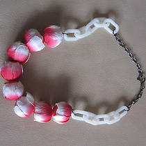 h&m for Water Pink White Flower Bud 2012 Necklace Used Chain Photo