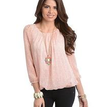 h&m Forever 21 Light Pink Polka Dots Long Sleeve Style Chiffon Top Size L Photo