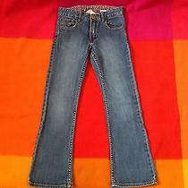 h&m Girls Denim Jeans Size 5-6 Blue Pants Eu 122 Sz 5-6y Narrow Seat Bootcut Photo