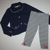 h&m Girls Navy Blue Blazer Top Stripe Cropped Leggings 4 5 6 Photo