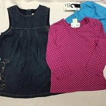h&m Girls Outfit 3pc Set Top Dress Hat Pink Denim Turquoise Size 9-12m New Nwt Photo