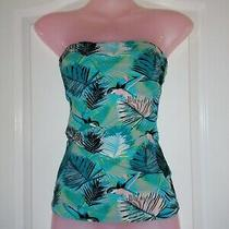h&m Gorgeous Tropical Bird Leaf Print Bandeau Strapless Top Holiday Summer Photo
