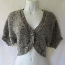 h&m Gray Silver Sparkle Shrug Sweater Cropped Cardigan Batwing Sleeve S Small Photo