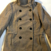 h&m Hm Women's Winter Peacoat Tan Camel Jacket Coat Size 10 Funnel Neck Classic Photo