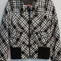 h&m Hm Womens Brown & White Plaid Zip Jacket Size 10 Medium  Trendy Photo