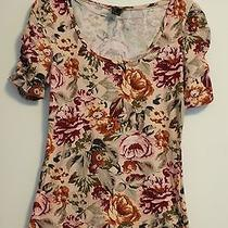 h&m Hm Womens Ruched Short Sleeve Floral Print Graphic T Shirt Top Size Small Photo