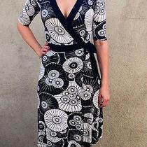 h&m Hm Womens Wrap Dress Size 6 Sz Small Black White Floral Print Short Sleeve Photo