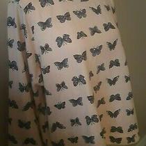 h&m Juniors Xl Pullover Top Butterflies Blush Pink Long Sleeve Curved Hem Fall Photo