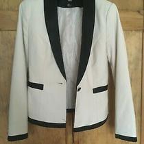 h&m Khaki With Black Trim Woman's Blazer Sz 4 Photo