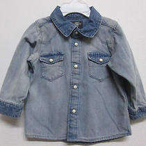 h&m l.o.g.g. 2-Tone Denim Collar Dress Shirt Long Sleeve Western  Boys 6-9 Month Photo