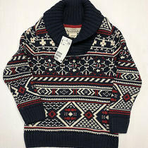 h&m l.o.g.g. Boys Pullover Sweater Red Blue White Size 2-4 Years Holiday  Photo