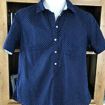 h&m l.o.g.g. Navy & White Fitted Spotted Summer Short Sleeved Shirt/blouse Sz 38 Photo