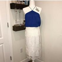 h&m Lace Midi Straight Pencil Skirt Elastic Waist  White Sz M Photo