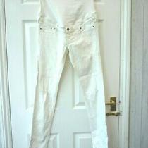 h&m Ladies Size 8 10 L32 White Skinny High Rib Distressed Maternity Jeans  Photo