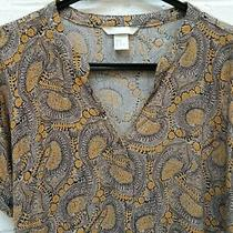 h&m Ladies White Brown Yellow Summer Paisley Blouse Top Size Uk 12 R42-Cf Photo