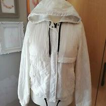h&m Ladies White Hooded Thin Puffer Jacket Down Feathers Size Xs 6-8 Photo