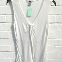 h&m Ladies White Sleeveless Summer Vest Top Size Small Ga1749 R45-Cf Photo