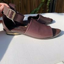 h&m Leather Brown Ankle Strap Sandals Gold Heels Size 9.5 Photo