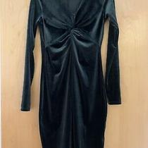 h&m Mama Velour Dark Green Stretchy Maternity Dress Size S Velvet Knee Length Photo