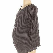 h&m Mama Women Gray Long Sleeve Henley M Maternity Photo