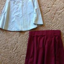 h&m Maroon Skater Skirt Forever 21 Denim Skater Skirt  Photo