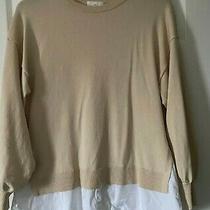 h&m Maternity Mama Light Beige Fine-Knit Jumper With Shirt Size Medium Photo