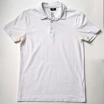 h&m Men's Fine Cotton Stretch White Basic Polo Shirt Size Xs Short Sleeve Photo