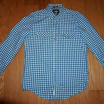h&m Men's Western Gingham Button Down Causal Shirt Teal Blue Small S Photo