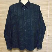 h&m Mens Sz Xl(us 17 1/4) Long Sleeve Button Front Dress Shirt Cotton Blend Blue Photo