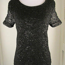 h&m Metallic Black Lace Fitted Short Sleeve Shirt Top Sz M Photo