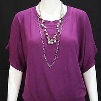 h&m Misses Small Plum Purple Dolman Sleeve Band Waist Sweater Shirt Top Photo
