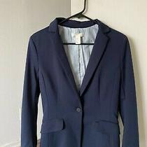 h&m Navy Blazer With Striped Lining Size 8 Photo
