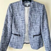 h&m  Navy White Tweed Blazer Jacket Sz 6 Structured Textured Zipper Accents Photo
