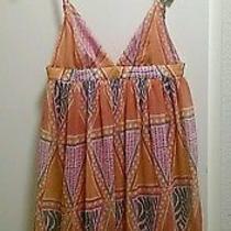 h&m Orange Pink Multi Baby Doll Mini Dress Lined Chiffon Us 6 Euc Photo
