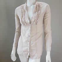 H & M Pale Light Lavender Long Sleeve Ruffle Front Button Up Blouse Top Shirt 2 Photo