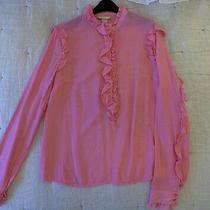 h&m Pink Shirt With High Neck and Ruffle and Frill Detail Uk Size 8 Photo