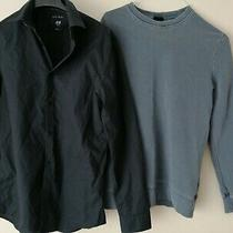 H & M  Plain Grey Sweatshirt Size Xs & Black Shirt Size S Photo