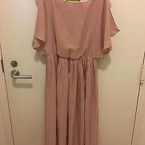 h&m Pleated Slit Flutter Sleeve Ankle Length Dress Size 8 Blush Pink Photo