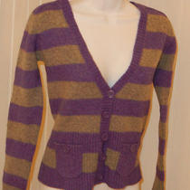 h&m Purple Grey Stripped v-Neck Plunge Button Cardigan Sweater Wool Pockets S Photo