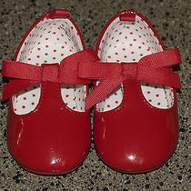 h&m Red Patent Bow Slip on Flats Size Us 2.5-3.5 Baby Toddler Girls Shoes Photo