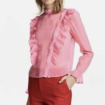 h&m Romantic Sheer Pink Ruffles Shirt Blouse Size 8 Runs Small More Like Sz 4-6 Photo