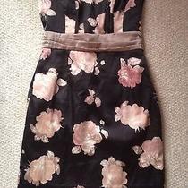 h&m Satin Floral Print Strapless Dress Black Size 8/ M Vintage Rockabilly Style Photo