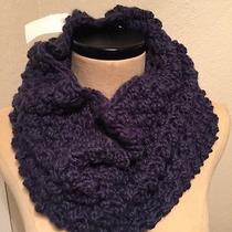h&m Scarf & Hat Set Purple Eggplant Color Popcorn Knit Style Cowl Infinity Nwt Photo