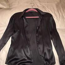 h&m Silk Gray Silver Chrome Charcoal Blouse Button Down Shirt Top Sz 4 Photo