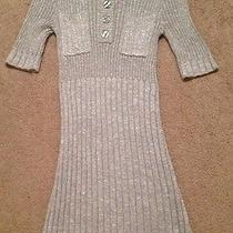H & M Silver Metallic Grey Gray Sparkle Knit Sweater Dress Women's Size 6 Medium Photo