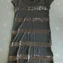 h&m Silver Sequin Long T Shirt Top Size Xs 8 Grey Ladies Sparkly Photo