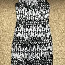 h&m Size 10 Black and White/monochrome Printed Pencil Dress Photo