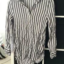 h&m Size 10 Eu 36 Blue Stripe Long Sleeve Blouse (H7) Photo